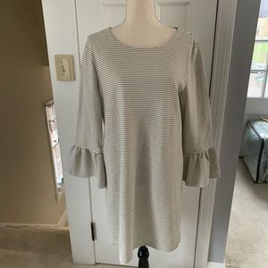 J. Crew Striped in that dress with bell sleeves